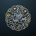 Happy New Year calligraphy lettering and golden snowflake star pattern decoration on white background for Xmas greeting card desig Royalty Free Stock Photo