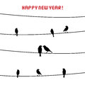 Happy new year card birds on the wire inlove in day Stock Images