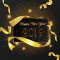 Happy New Year 2019 card Golden design.
