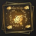 Happy New Year 2019 card Golden design.