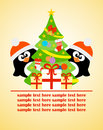 Happy new year card with penguins and christmas tree vector Royalty Free Stock Photo