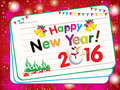 Happy New Year 2016 Card on pink snow background. With new year party and Santa Claus on red background. Royalty Free Stock Photo