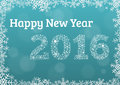 Happy new year 2016 card with snowflake frame and year 2016 made Royalty Free Stock Photo