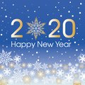 2020 Happy New Year card template. Design patern snowflakes Royalty Free Stock Photo