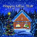 Happy New Year card, winter landscape vector drawing. Night snow forest with falling snowflakes, decorated with luminous garlands Royalty Free Stock Photo
