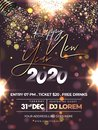 Happy New Year 2020 Celebration Flyer Design with Party Popper Falling Glitter on Brown Lighting Effect Background