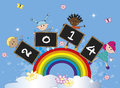 Happy new year with children on the rainbow Stock Photos