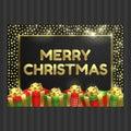 Happy New Year, Christmas card, gift box, ribbon