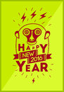 Happy New Year 2016! Christmas greeting card design with funny monkey. Vector illustration. Royalty Free Stock Photo