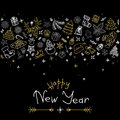 Happy New Year and Christmas greeting card with gold and silver icons