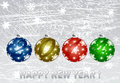 Happy new year christmas illustration with colorful multi colored balls christmas greeting card bright winter background with Royalty Free Stock Images