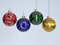 Happy new year christmas tree decorations on white background Royalty Free Stock Images