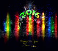 Happy new year city colourful with firework Royalty Free Stock Photo