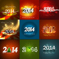 Happy new year collection holiday greeting card bright colorful design Stock Photo