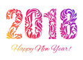 Happy New Year 2018. The colorful figures made in floral ornamen