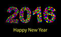 Happy New Year 2016 colorful greeting card made in polygonal origami style. Royalty Free Stock Photo