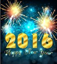 Happy new year 2016 with colourful firework Royalty Free Stock Photo