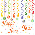 Happy new year composition with serpentine and decorations hand drawing vector illustration Stock Photos