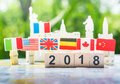 Happy new year 2018 concept, international cooperation,teamwork Royalty Free Stock Photo