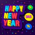 Happy new year congratulation and bargain sale offer. Vector illustration.