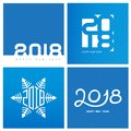 Happy New Year 2018. Cover of business diary for 2018. Vector br Royalty Free Stock Photo