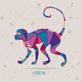 Happy new year 2016 creative greeting card with monkey made of triangles Royalty Free Stock Photo