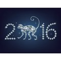 Happy new year 2016 creative greeting card with monkey Royalty Free Stock Photo