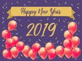 Happy new year 2019 with creative pink balloon concept for copy space. minimal concept. banner template, flyer, greeting