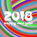 Happy new year 2018 on curved colorful abstract stripped background eps10 Royalty Free Stock Photo