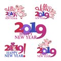 stock image of  2019 Happy New Year. Cute pig. Chinese New Year of the pig.