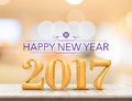 Happy new year 2017 3d rendering new year on marble table top Royalty Free Stock Photo
