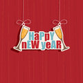 Happy new year decoration hanging on red background eps format with transparencies Stock Images