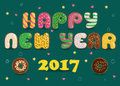 Happy New Year 2017. Donuts font
