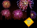 Happy New Year English fireworks Royalty Free Stock Photos