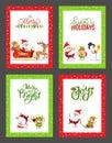 Happy New Year Festive Cards with Cartoon Santa