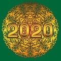 Happy new year 2020 figures gold mandala pattern on isolated green background. Vector image
