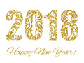 Happy New Year 2018. The figures with golden glitter made in flo