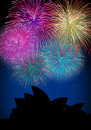 Happy New Year fireworks Australia landmark Stock Images