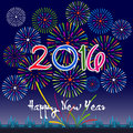Happy New Year 2016 with fireworks background Royalty Free Stock Photo