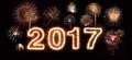 Happy New Year 2017 Fireworks Royalty Free Stock Photo