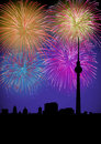 Happy New Year fireworks Germany landmark Stock Photography