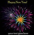 Happy new year fireworks illustration on a black background Royalty Free Stock Photo