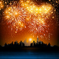 Happy new year fireworks night town Royalty Free Stock Photos