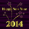 Happy new year with fireworks on purple background Stock Photos