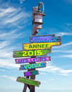 2015 happy new year in French on pastel colored wooden direction signs Royalty Free Stock Photo