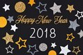 Happy New Year 2018 text with confetti against a black background