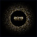Happy New Year 2019. Gold bright disco lights. Halftone circle frame. Happy new year card background.