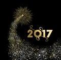 Happy new year 2017 gold firework design