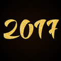 Happy New Year 2017 - gold glitter hand lettering Royalty Free Stock Photo