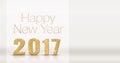 Happy new year 2017 gold glitter texture on white studio room ba